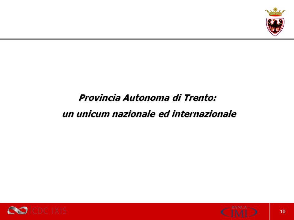 10 Provincia Autonoma di Trento: un unicum nazionale ed internazionale un unicum nazionale ed internazionale
