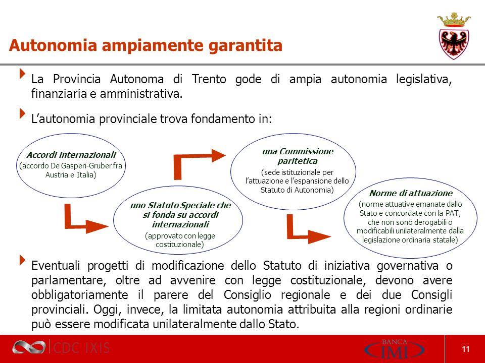 11 La Provincia Autonoma di Trento gode di ampia autonomia legislativa, finanziaria e amministrativa.