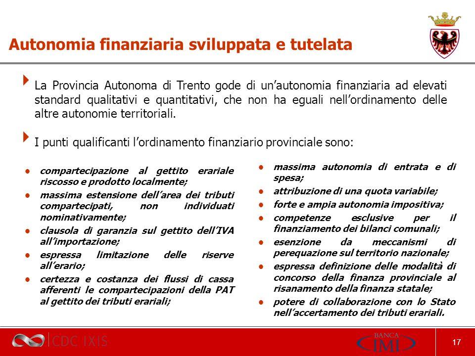 17 La Provincia Autonoma di Trento gode di unautonomia finanziaria ad elevati standard qualitativi e quantitativi, che non ha eguali nellordinamento delle altre autonomie territoriali.