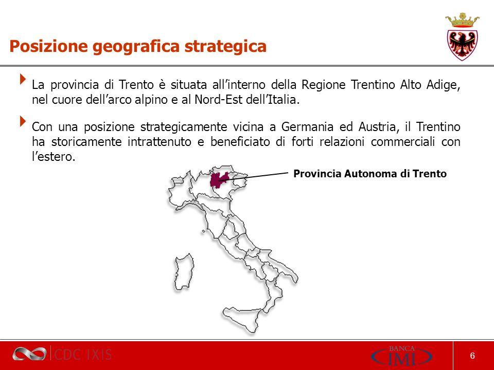 6 La provincia di Trento è situata allinterno della Regione Trentino Alto Adige, nel cuore dellarco alpino e al Nord-Est dellItalia.
