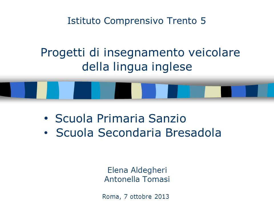 Istituto Comprensivo Trento 5 Elena Aldegheri Antonella Tomasi Scuola Primaria Sanzio Scuola Secondaria Bresadola Roma, 7 ottobre 2013 Progetti di ins