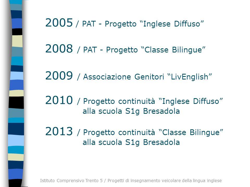 2005 / PAT - Progetto Inglese Diffuso 2008 / PAT - Progetto Classe Bilingue 2009 / Associazione Genitori LivEnglish 2010 / Progetto continuità Inglese