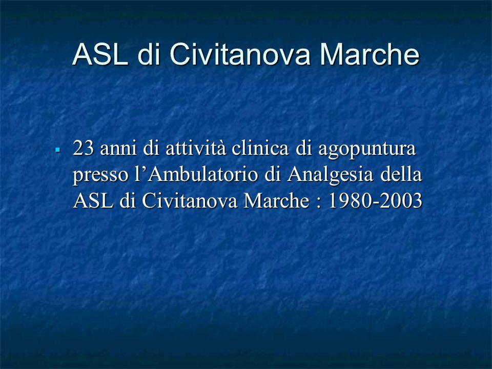 ASL di Civitanova Marche 23 anni di attività clinica di agopuntura presso lAmbulatorio di Analgesia della ASL di Civitanova Marche : 1980-2003 23 anni di attività clinica di agopuntura presso lAmbulatorio di Analgesia della ASL di Civitanova Marche : 1980-2003