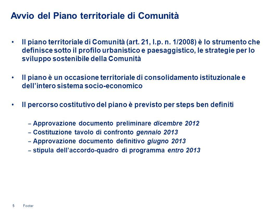 Avvio del Piano territoriale di Comunità Il piano territoriale di Comunità (art.