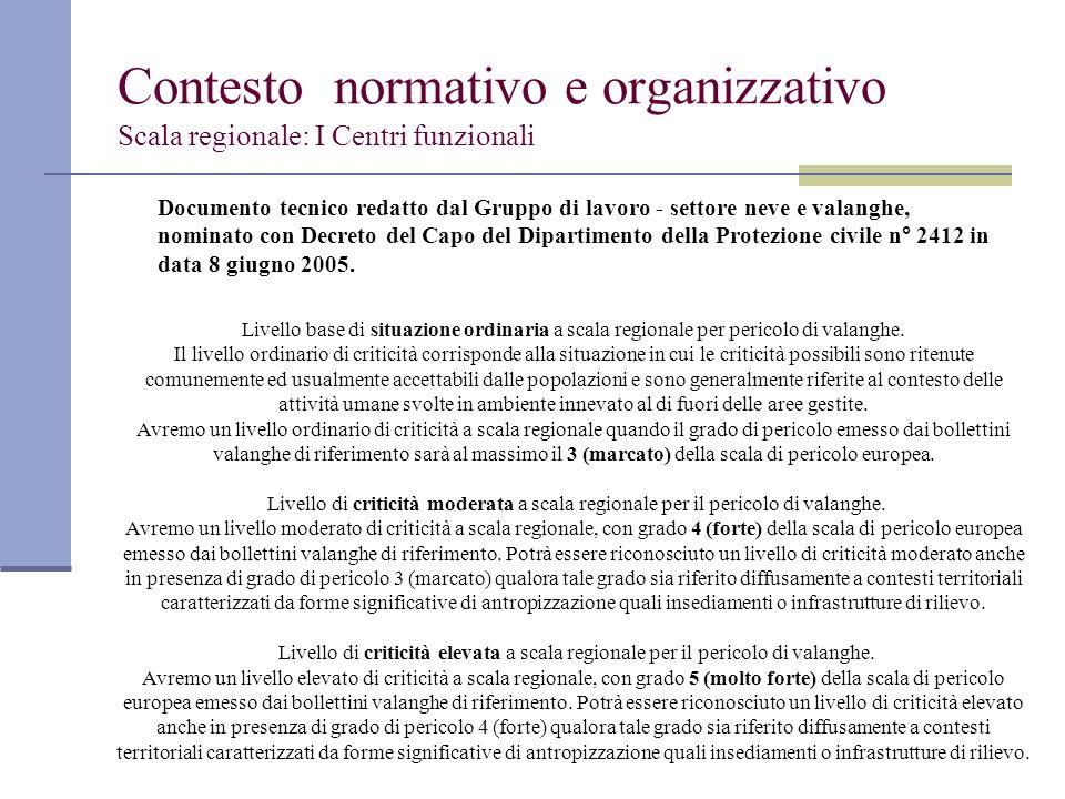 Contesto normativo e organizzativo Scala regionale: I Centri funzionali Documento tecnico redatto dal Gruppo di lavoro - settore neve e valanghe, nomi
