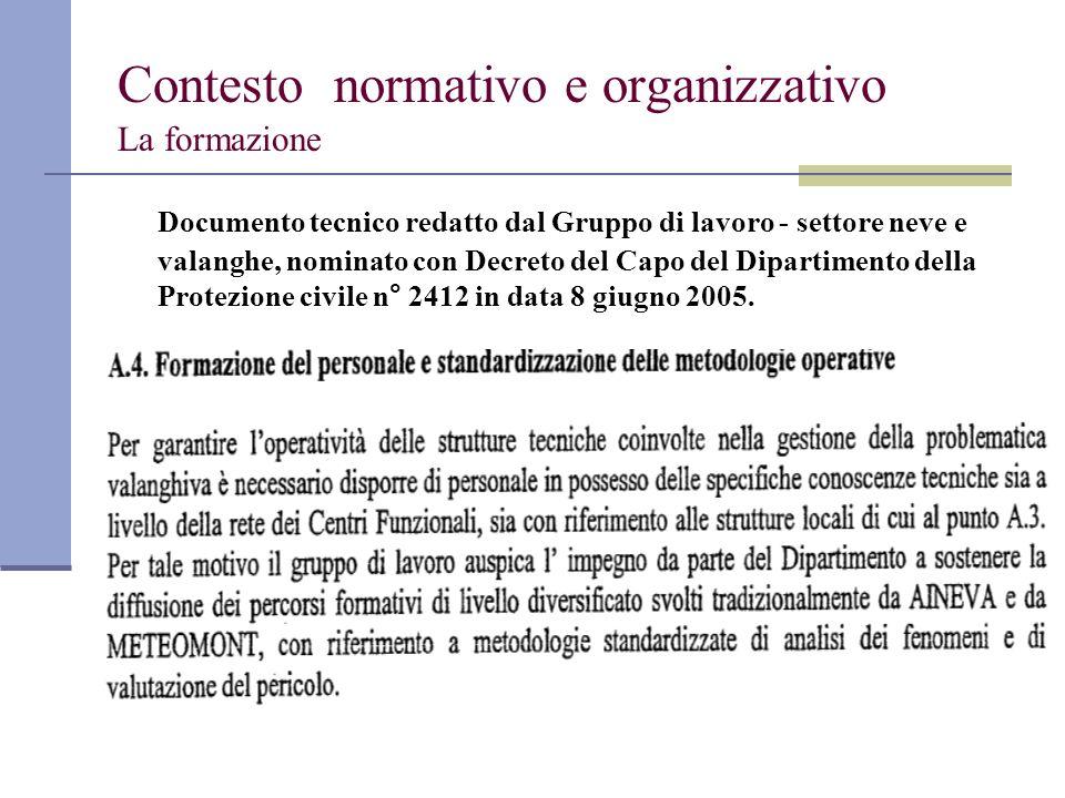 Contesto normativo e organizzativo La formazione Documento tecnico redatto dal Gruppo di lavoro - settore neve e valanghe, nominato con Decreto del Ca