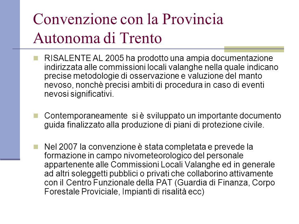 Convenzione con la Provincia Autonoma di Trento RISALENTE AL 2005 ha prodotto una ampia documentazione indirizzata alle commissioni locali valanghe ne