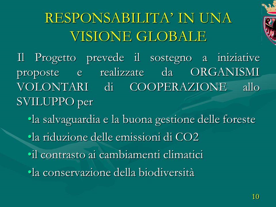 10 RESPONSABILITA IN UNA VISIONE GLOBALE Il Progetto prevede il sostegno a iniziative proposte e realizzate da ORGANISMI VOLONTARI di COOPERAZIONE allo SVILUPPO per la salvaguardia e la buona gestione delle forestela salvaguardia e la buona gestione delle foreste la riduzione delle emissioni di CO2la riduzione delle emissioni di CO2 il contrasto ai cambiamenti climaticiil contrasto ai cambiamenti climatici la conservazione della biodiversitàla conservazione della biodiversità