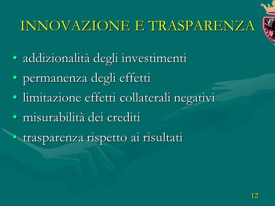 12 INNOVAZIONE E TRASPARENZA addizionalità degli investimentiaddizionalità degli investimenti permanenza degli effettipermanenza degli effetti limitazione effetti collaterali negativilimitazione effetti collaterali negativi misurabilità dei creditimisurabilità dei crediti trasparenza rispetto ai risultatitrasparenza rispetto ai risultati