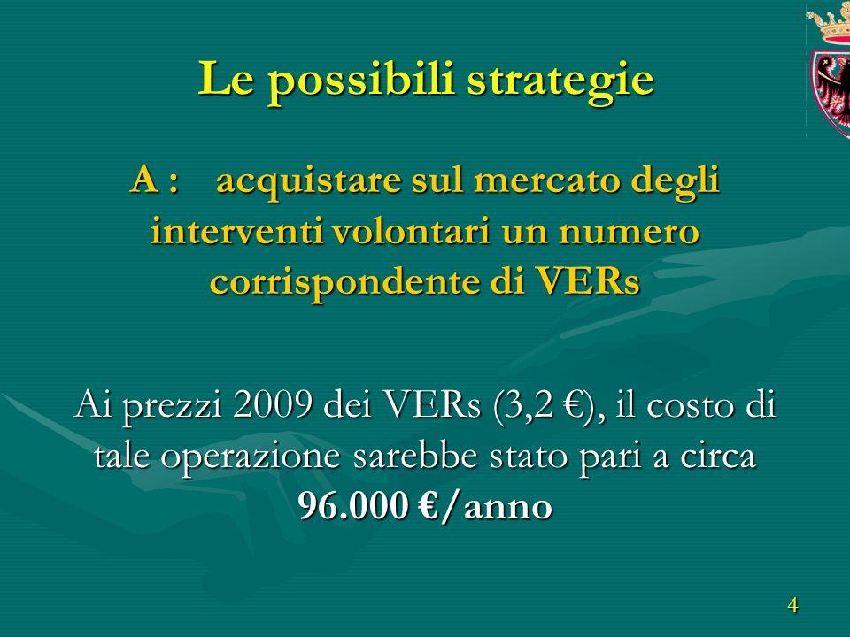 4 Le possibili strategie A : acquistare sul mercato degli interventi volontari un numero corrispondente di VERs Ai prezzi 2009 dei VERs (3,2 ), il costo di tale operazione sarebbe stato pari a circa 96.000 /anno