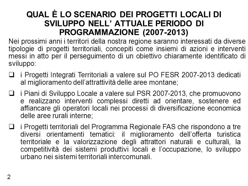 QUAL È LO SCENARIO DEI PROGETTI LOCALI DI SVILUPPO NELL ATTUALE PERIODO DI PROGRAMMAZIONE (2007-2013) i Progetti Integrati Territoriali a valere sul PO FESR 2007-2013 dedicati al miglioramento dellattrattività delle aree montane; i Piani di Sviluppo Locale a valere sul PSR 2007-2013, che promuovono e realizzano interventi complessi diretti ad orientare, sostenere ed affiancare gli operatori locali nei processi di diversificazione economica delle aree rurali interne; i Progetti territoriali del Programma Regionale FAS che rispondono a tre diversi orientamenti tematici: il miglioramento dellofferta turistica territoriale e la valorizzazione degli attrattori naturali e culturali, la competitività dei sistemi produttivi locali e loccupazione, lo sviluppo urbano nei sistemi territoriali intercomunali.