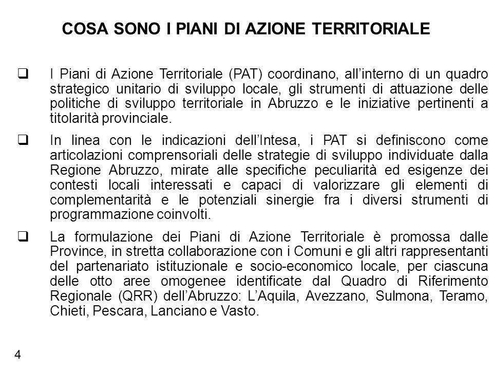 COSA SONO I PIANI DI AZIONE TERRITORIALE I Piani di Azione Territoriale (PAT) coordinano, allinterno di un quadro strategico unitario di sviluppo locale, gli strumenti di attuazione delle politiche di sviluppo territoriale in Abruzzo e le iniziative pertinenti a titolarità provinciale.