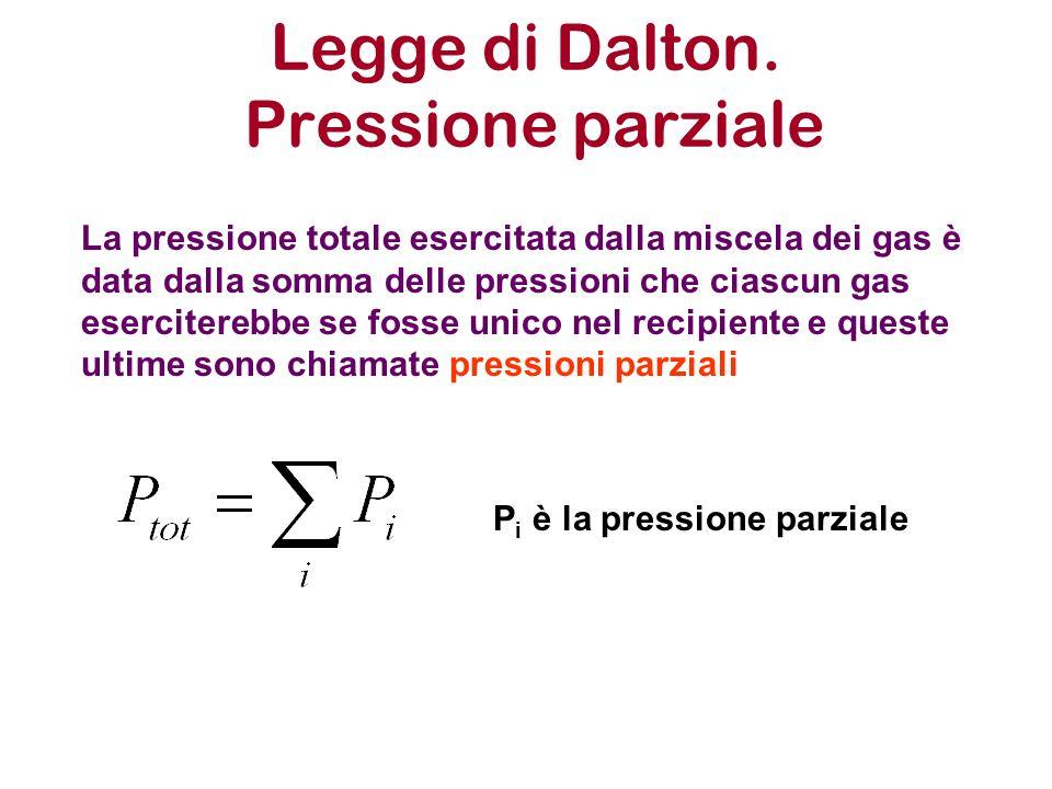 Legge di Dalton. Pressione parziale La pressione totale esercitata dalla miscela dei gas è data dalla somma delle pressioni che ciascun gas esercitere