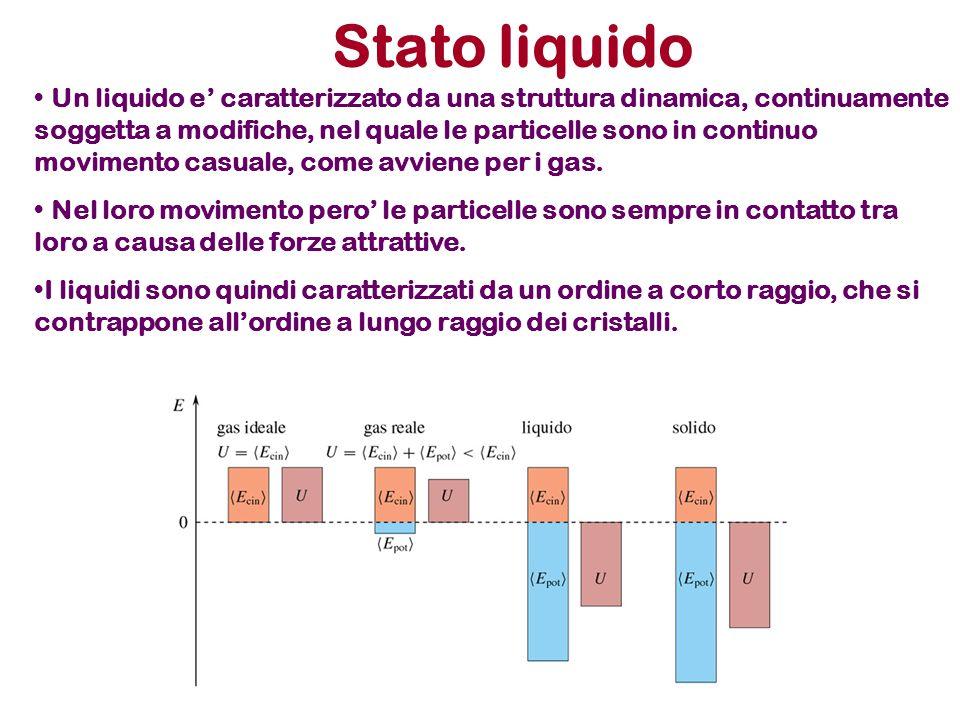 Stato liquido Un liquido e caratterizzato da una struttura dinamica, continuamente soggetta a modifiche, nel quale le particelle sono in continuo movi