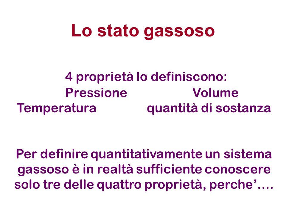 Lo stato gassoso 4 proprietà lo definiscono: PressioneVolume Temperatura quantità di sostanza Per definire quantitativamente un sistema gassoso è in r