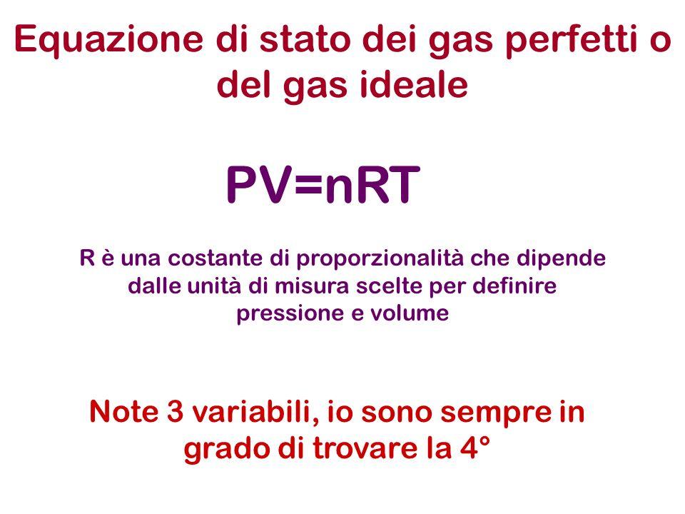 Equazione di stato dei gas perfetti o del gas ideale PV=nRT Note 3 variabili, io sono sempre in grado di trovare la 4° R è una costante di proporziona