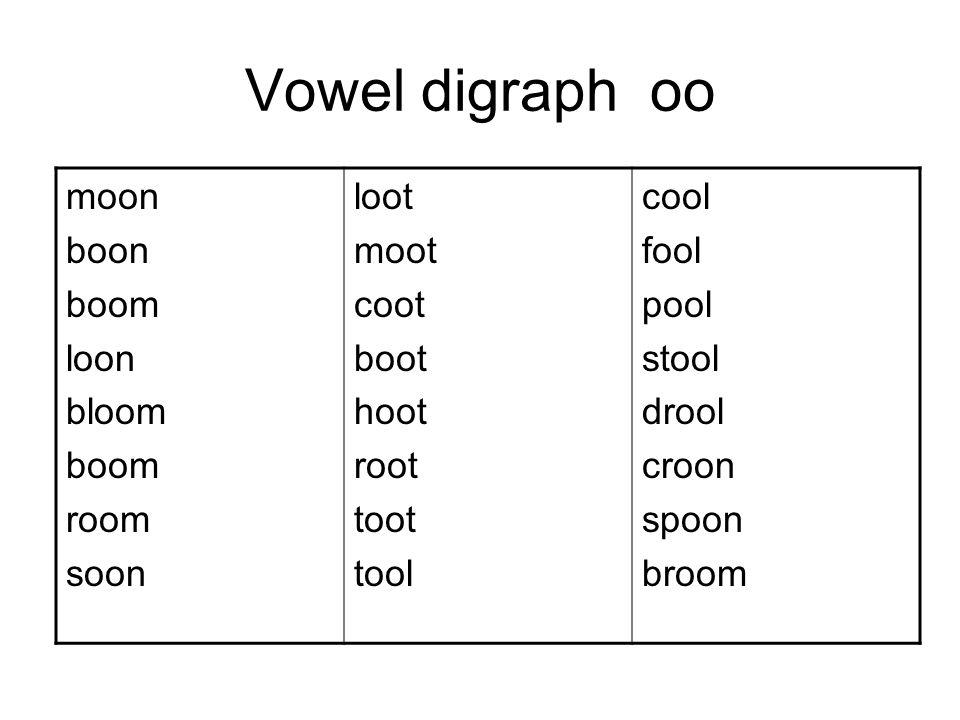 Vowel digraph oo moon boon boom loon bloom boom room soon loot moot coot boot hoot root toot tool cool fool pool stool drool croon spoon broom