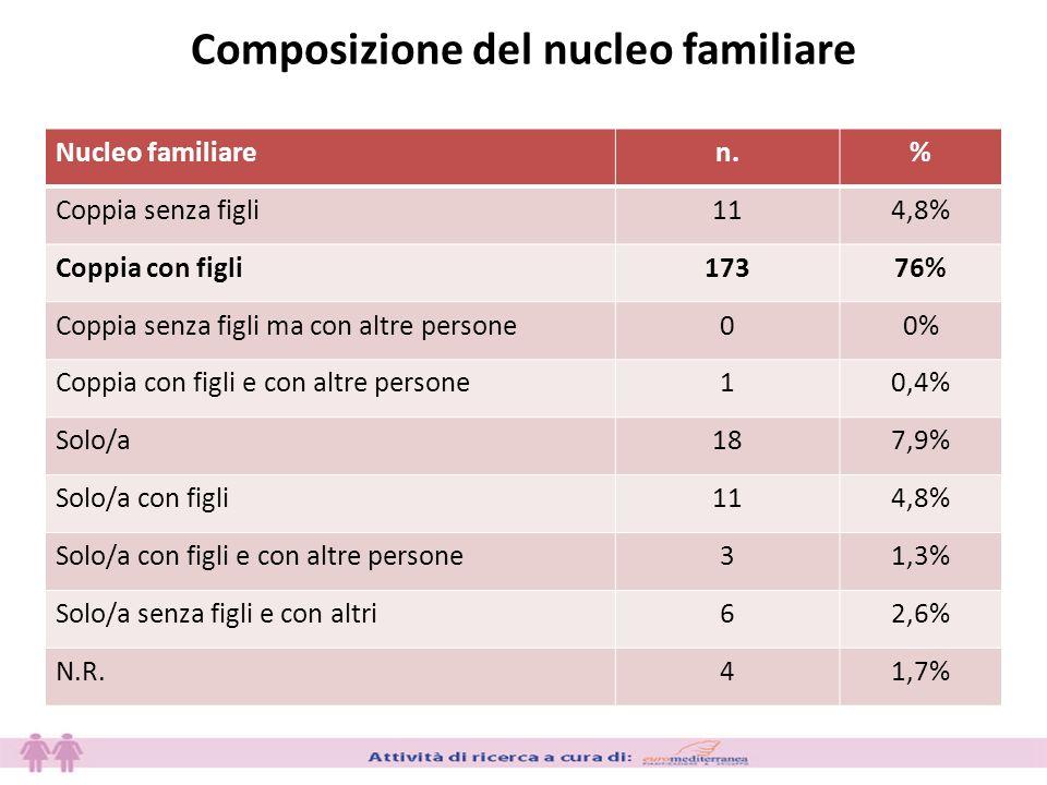 Composizione del nucleo familiare Nucleo familiaren.% Coppia senza figli114,8% Coppia con figli17376% Coppia senza figli ma con altre persone00% Coppia con figli e con altre persone10,4% Solo/a187,9% Solo/a con figli114,8% Solo/a con figli e con altre persone31,3% Solo/a senza figli e con altri62,6% N.R.41,7%