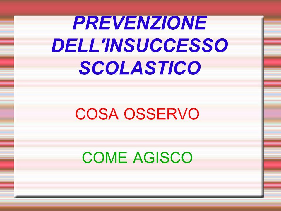 PREVENZIONE DELL'INSUCCESSO SCOLASTICO COSA OSSERVO COME AGISCO