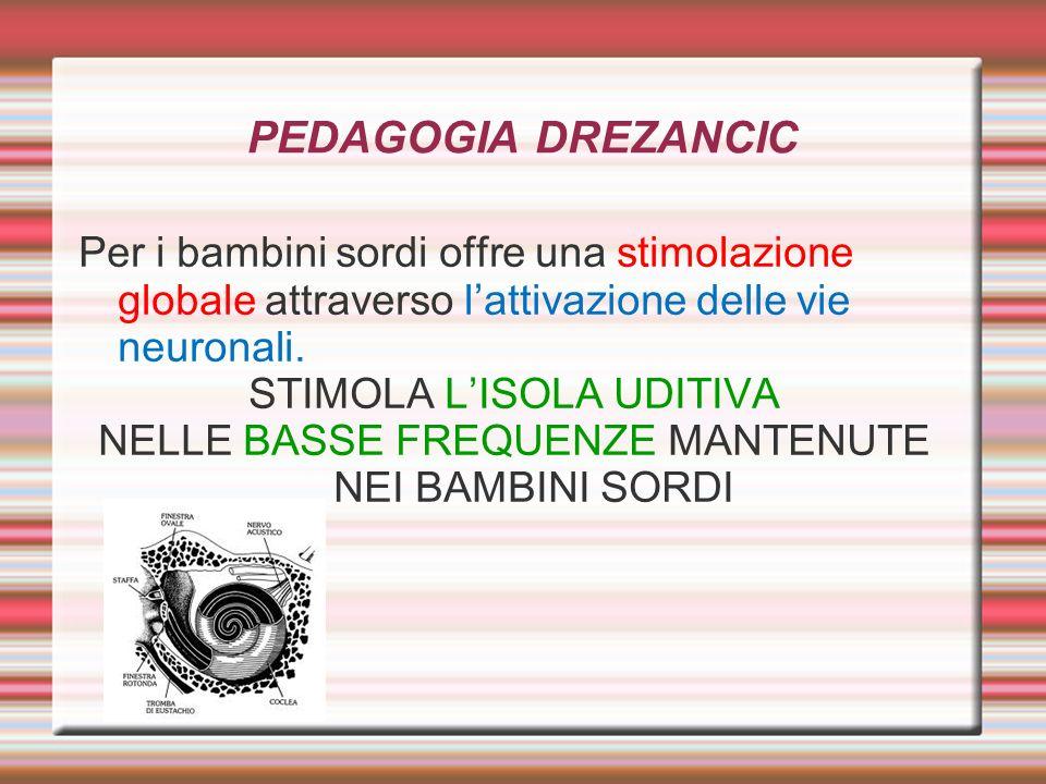 PEDAGOGIA DREZANCIC Per i bambini sordi offre una stimolazione globale attraverso lattivazione delle vie neuronali. STIMOLA LISOLA UDITIVA NELLE BASSE