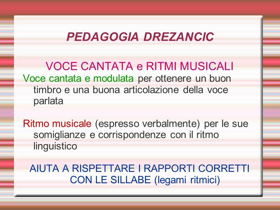 PEDAGOGIA DREZANCIC VOCE CANTATA e RITMI MUSICALI Voce cantata e modulata per ottenere un buon timbro e una buona articolazione della voce parlata Rit