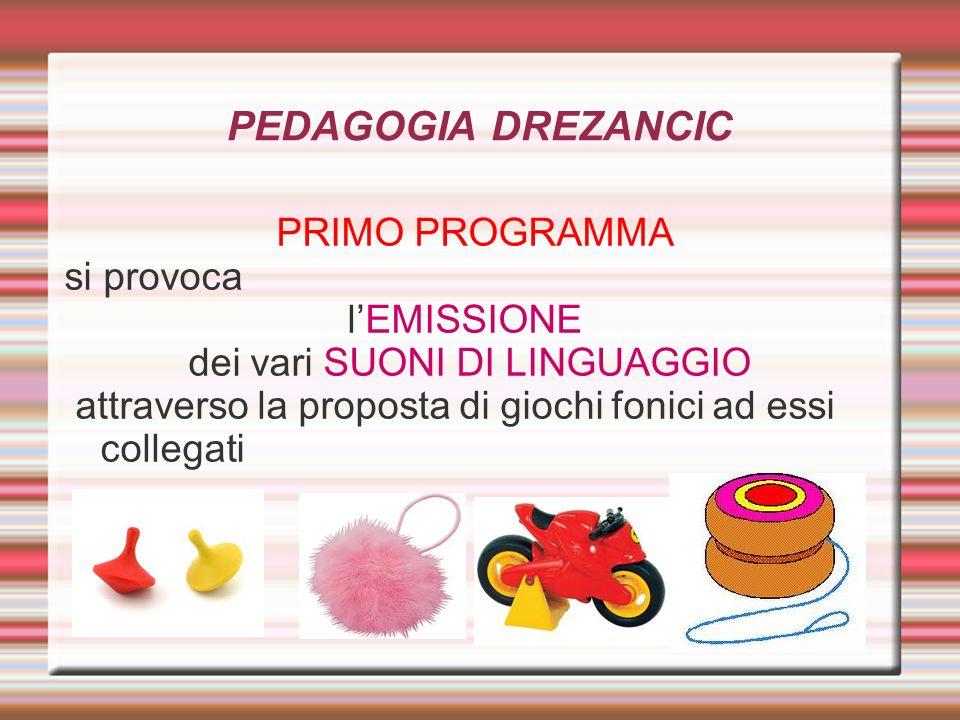 PEDAGOGIA DREZANCIC PRIMO PROGRAMMA si provoca lEMISSIONE dei vari SUONI DI LINGUAGGIO attraverso la proposta di giochi fonici ad essi collegati