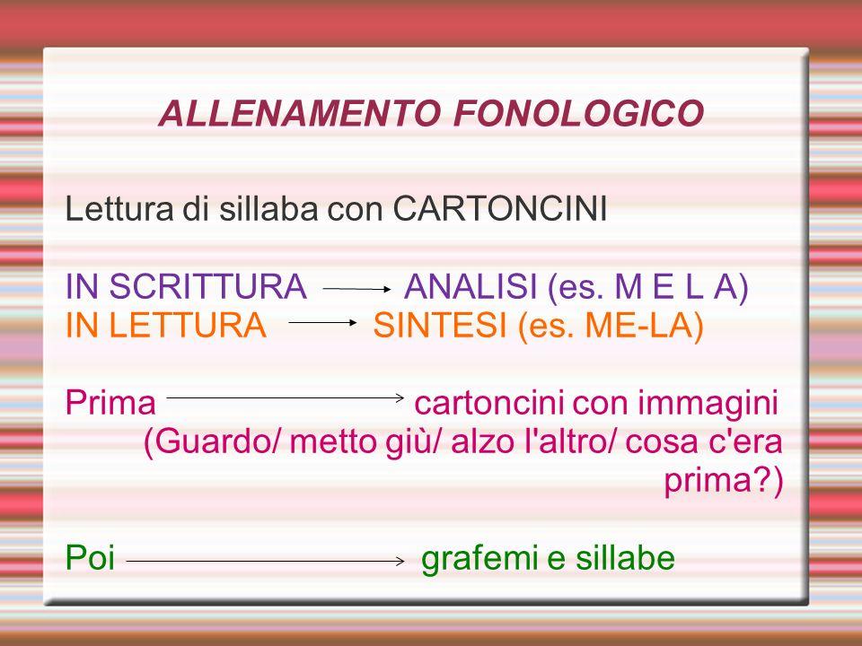 ALLENAMENTO FONOLOGICO Lettura di sillaba con CARTONCINI IN SCRITTURA ANALISI (es. M E L A) IN LETTURA SINTESI (es. ME-LA) Prima cartoncini con immagi