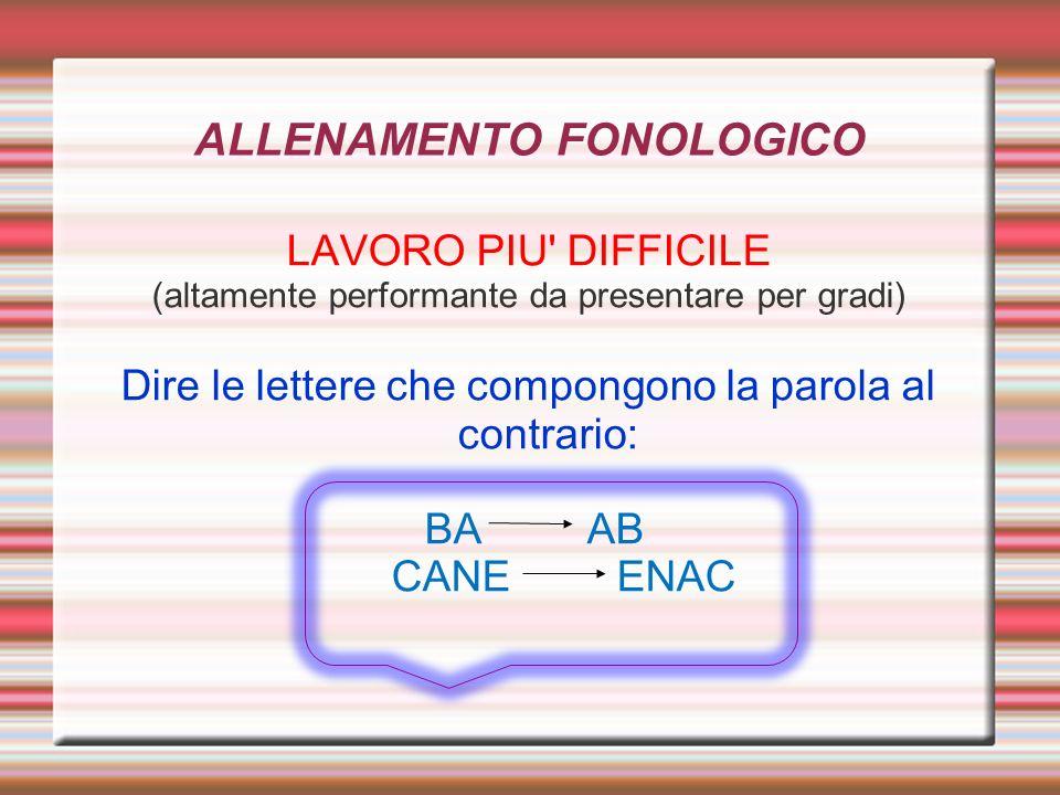 ALLENAMENTO FONOLOGICO LAVORO PIU' DIFFICILE (altamente performante da presentare per gradi) Dire le lettere che compongono la parola al contrario: BA