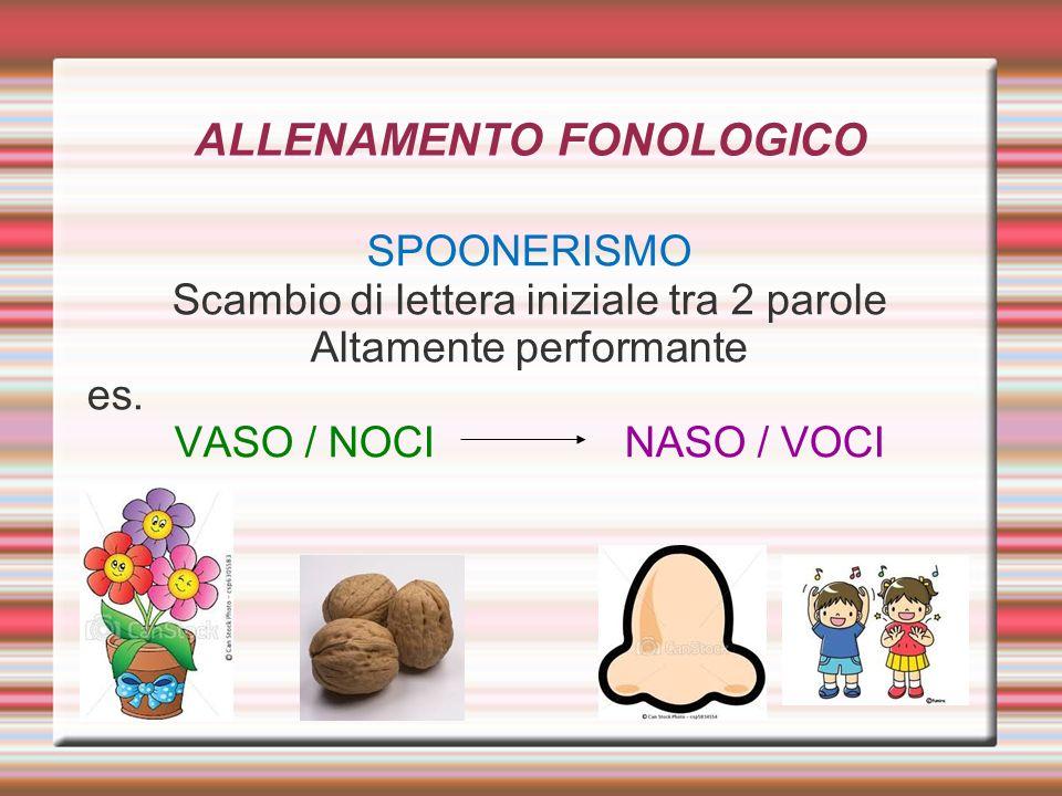 ALLENAMENTO FONOLOGICO SPOONERISMO Scambio di lettera iniziale tra 2 parole Altamente performante es. VASO / NOCI NASO / VOCI
