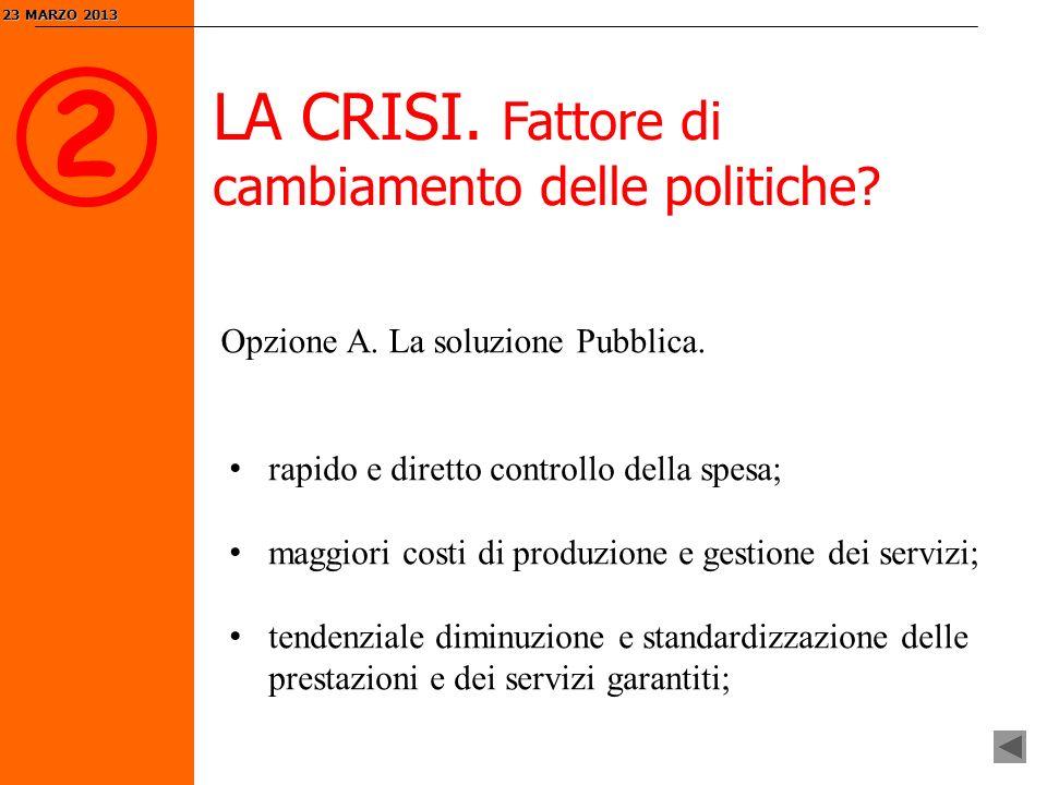 2 LA CRISI. Fattore di cambiamento delle politiche.
