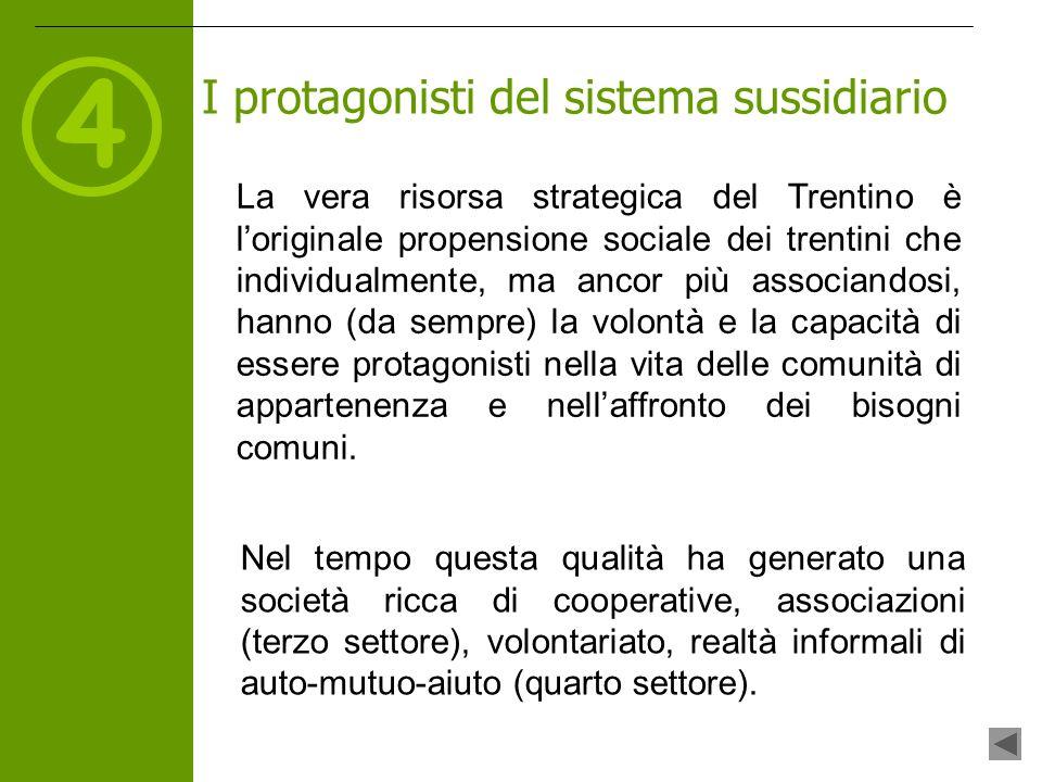 4 La vera risorsa strategica del Trentino è loriginale propensione sociale dei trentini che individualmente, ma ancor più associandosi, hanno (da sempre) la volontà e la capacità di essere protagonisti nella vita delle comunità di appartenenza e nellaffronto dei bisogni comuni.
