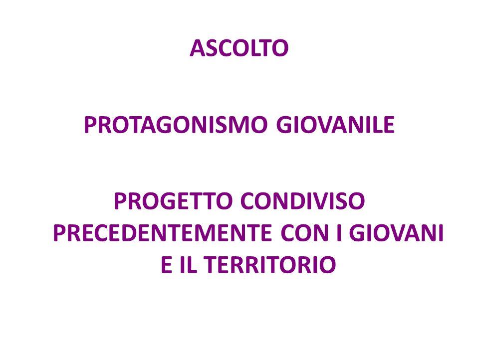 ASCOLTO PROTAGONISMO GIOVANILE PROGETTO CONDIVISO PRECEDENTEMENTE CON I GIOVANI E IL TERRITORIO