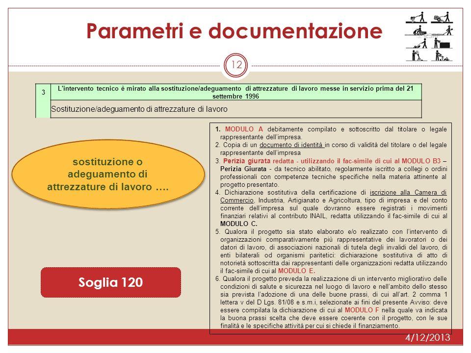 12 Soglia 120 Parametri e documentazione 3 L'intervento tecnico è mirato alla sostituzione/adeguamento di attrezzature di lavoro messe in servizio pri