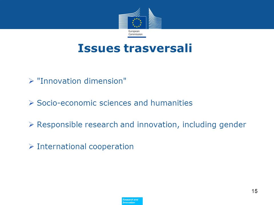 Research and Innovation Research and Innovation Issues trasversali