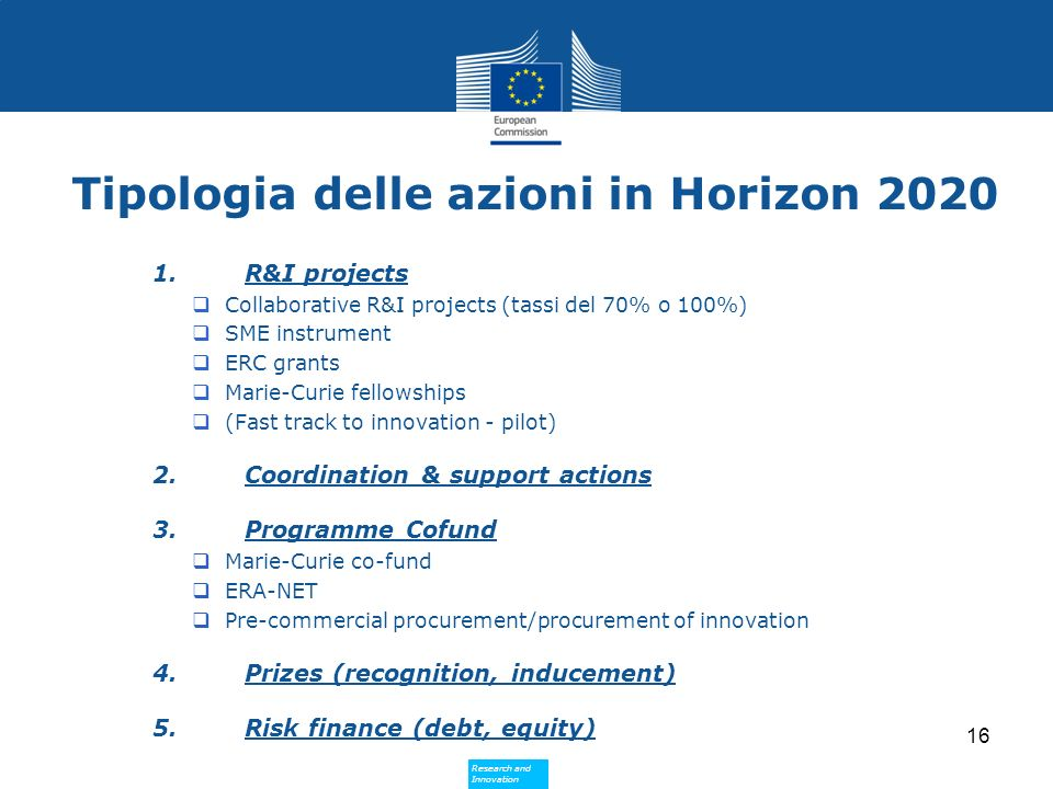 Research and Innovation Research and Innovation Tipologia delle azioni in Horizon 2020 1.R&I projects Collaborative R&I projects (tassi del 70% o 100%