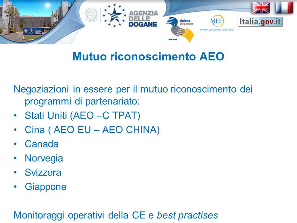 Negoziazioni in essere per il mutuo riconoscimento dei programmi di partenariato: Stati Uniti (AEO –C TPAT) Cina ( AEO EU – AEO CHINA) Canada Norvegia