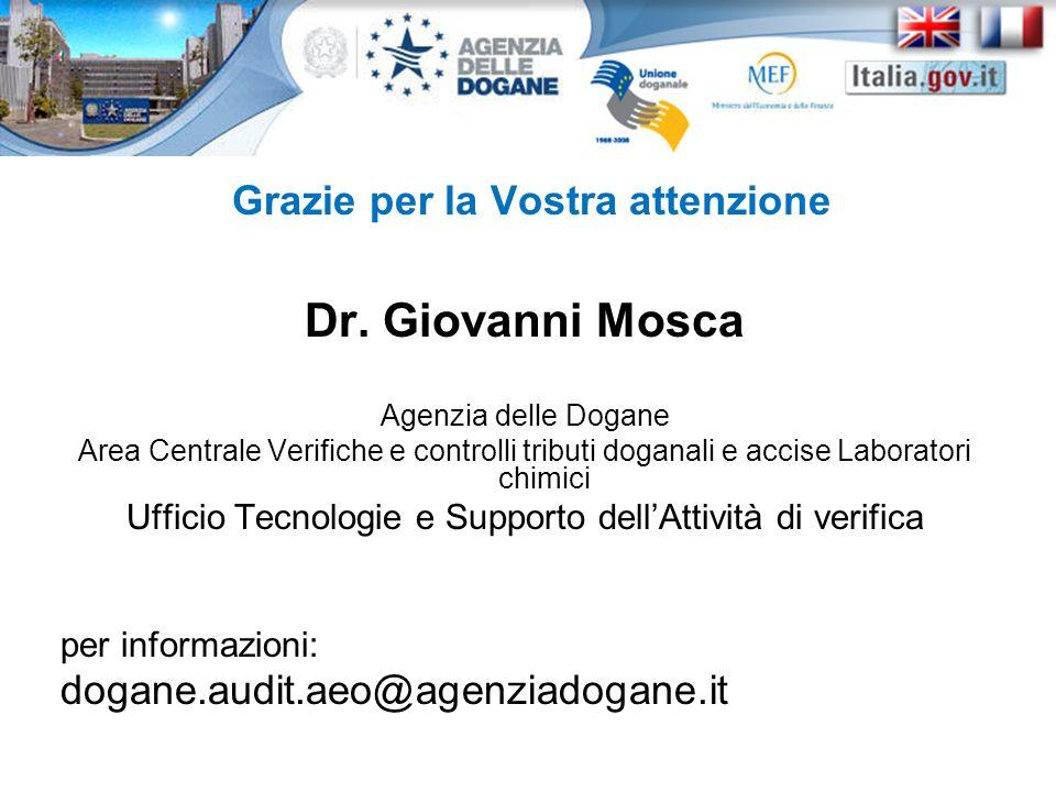 Grazie per la Vostra attenzione Dr. Giovanni Mosca Agenzia delle Dogane Area Centrale Verifiche e controlli tributi doganali e accise Laboratori chimi