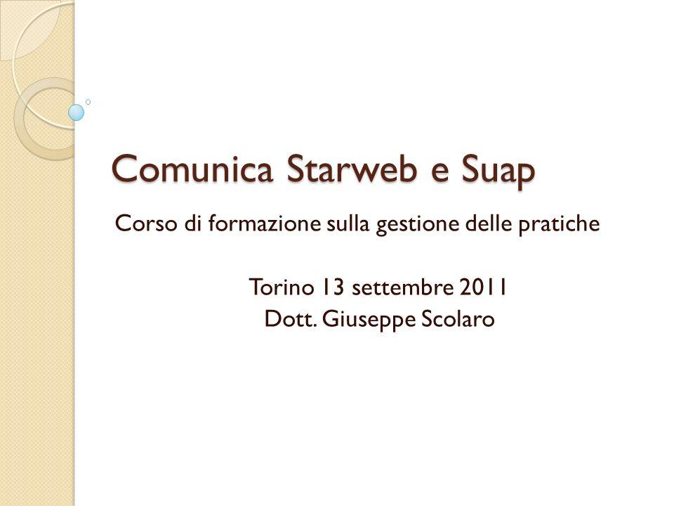 Comunica Starweb e Suap Corso di formazione sulla gestione delle pratiche Torino 13 settembre 2011 Dott. Giuseppe Scolaro