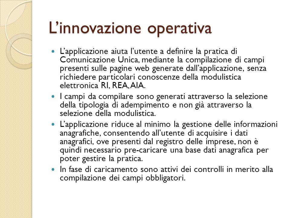 Linnovazione operativa Lapplicazione aiuta lutente a definire la pratica di Comunicazione Unica, mediante la compilazione di campi presenti sulle pagi