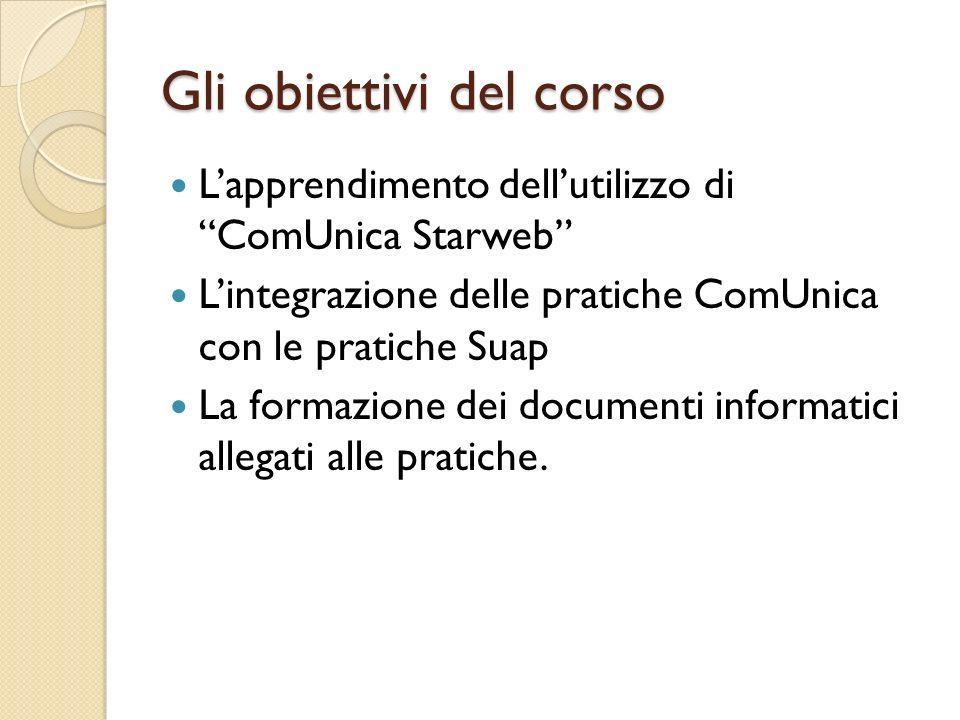 Gli obiettivi del corso Lapprendimento dellutilizzo di ComUnica Starweb Lintegrazione delle pratiche ComUnica con le pratiche Suap La formazione dei d