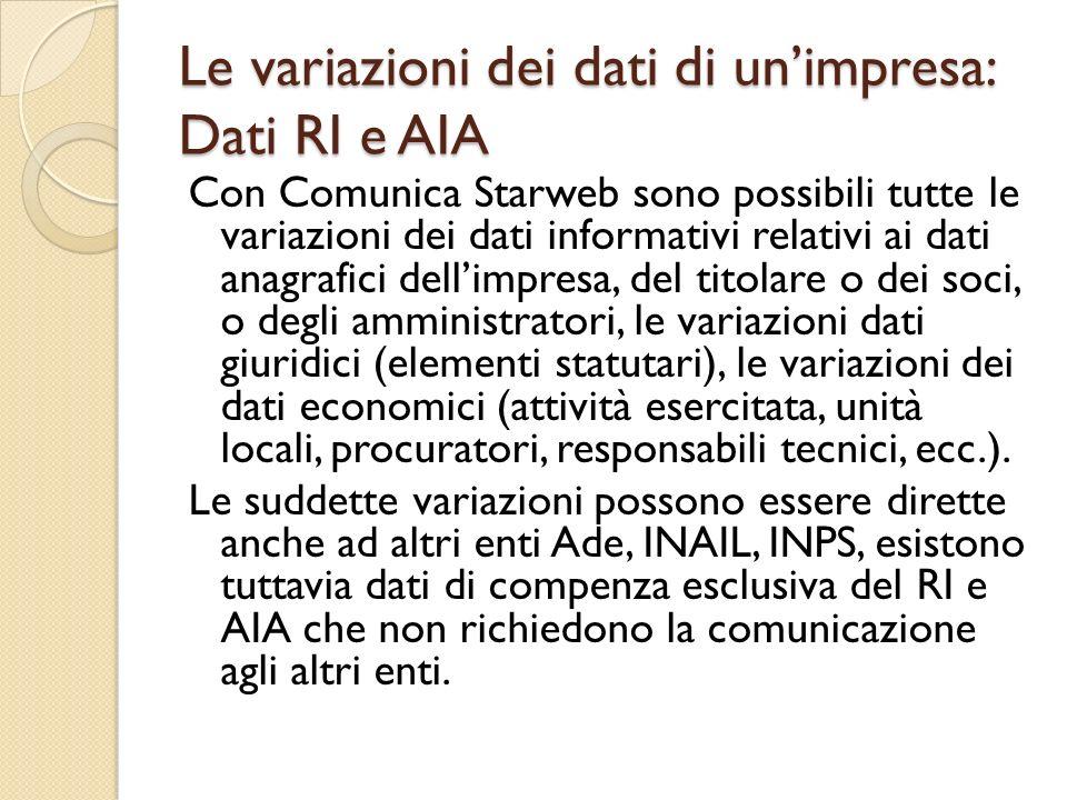 Le variazioni dei dati di unimpresa: Dati RI e AIA Con Comunica Starweb sono possibili tutte le variazioni dei dati informativi relativi ai dati anagr