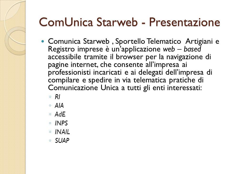 ComUnica Starweb - Presentazione Comunica Starweb, Sportello Telematico Artigiani e Registro imprese è unapplicazione web – based accessibile tramite