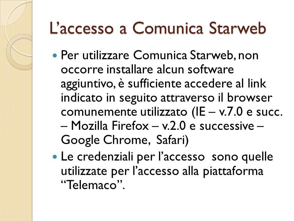 Laccesso a Comunica Starweb Per utilizzare Comunica Starweb, non occorre installare alcun software aggiuntivo, è sufficiente accedere al link indicato