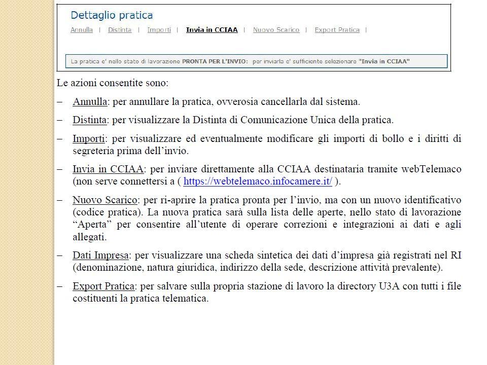 Per linvio della pratica selezionare il link Invia in CCIAA
