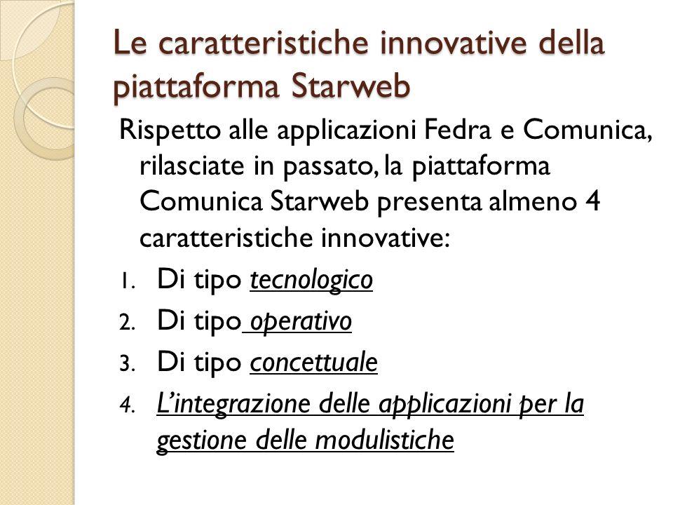 Le caratteristiche innovative della piattaforma Starweb Rispetto alle applicazioni Fedra e Comunica, rilasciate in passato, la piattaforma Comunica St