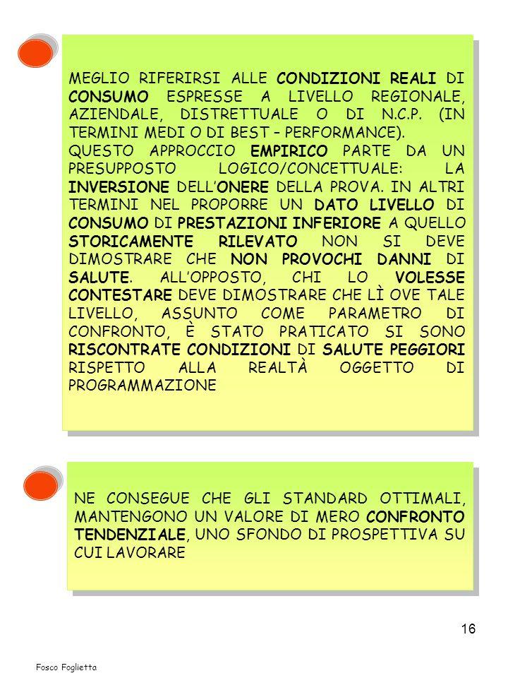 16 MEGLIO RIFERIRSI ALLE CONDIZIONI REALI DI CONSUMO ESPRESSE A LIVELLO REGIONALE, AZIENDALE, DISTRETTUALE O DI N.C.P.
