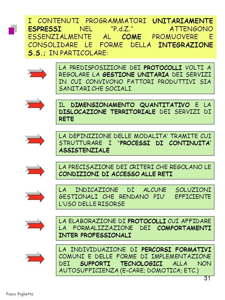 31 I CONTENUTI PROGRAMMATORI UNITARIAMENTE ESPRESSI NEL P.d.Z.