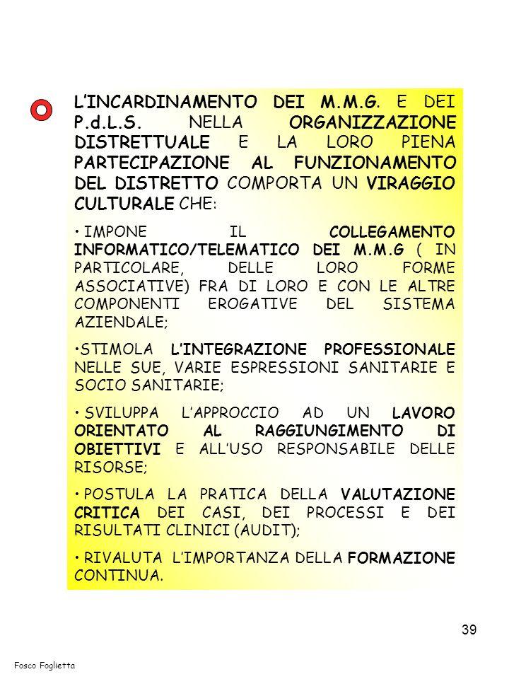 39 LINCARDINAMENTO DEI M.M.G. E DEI P.d.L.S. NELLA ORGANIZZAZIONE DISTRETTUALE E LA LORO PIENA PARTECIPAZIONE AL FUNZIONAMENTO DEL DISTRETTO COMPORTA