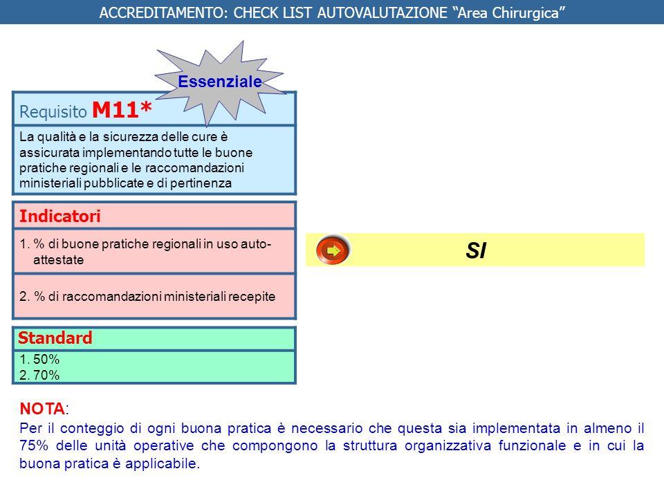 Indicatori 1.% di buone pratiche regionali in uso auto- attestate 2. % di raccomandazioni ministeriali recepite Requisito M11* La qualità e la sicurez
