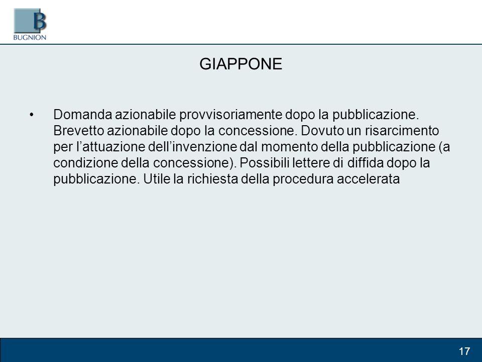 GIAPPONE Domanda azionabile provvisoriamente dopo la pubblicazione.